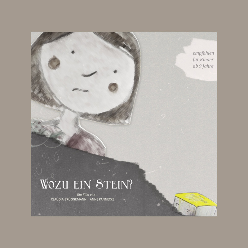 "Cover for short movie ""Wozu ein Stein"" with girl and stumbling block"